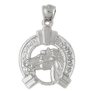 Clevereve's 14K White Gold Pendant Two Tone Horse Shoe and Horse 3.8   Gram(s) Jewelry
