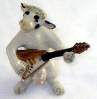 COW HOLSTEIN B & W Band plays Flying V ELECTRIC GUITAR New MINIATURE Porcelain Figurine KLIMA K676D   Collectible Figurines
