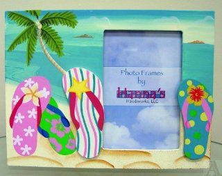 Flip Flop Sandals Ocean Beach Picture Frame Holds 4x6 Photo   Single Frames