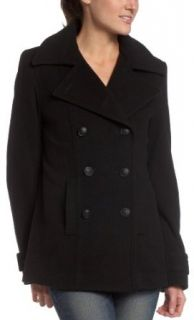 Esprit Women's Wool Blend Military Style Pea Coat, Black, Small Outerwear