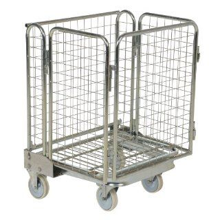 "Vestil ROL 55 Steel Wire Cage Cart, 1 Shelf, 880 lbs Load Capacity, 66"" Height, 32 1/4"" Length X 24"" Width Service Carts"