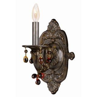 Crystorama Sutton Natural Wrought Iron Wall Sconce Accented with