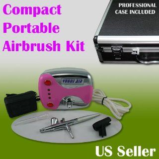 Dual Action / Compact Portable Airbrush Makeup Air Compressor Kit Gravity Feed Spray Salon Nail Pink Color with Case