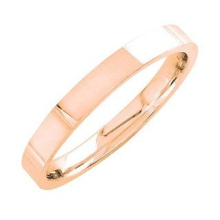 18K Rose Gold Men's Traditional Top Flat Wedding Band (3mm) Jewelry