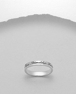 Sterling Silver Friendship Message Ring, Size 7 Jewelry