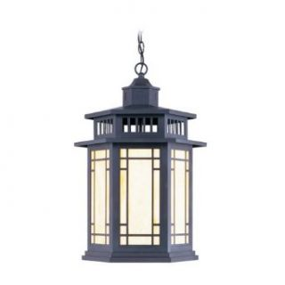Livex Lighting 2397 07 1 Light 150W Outdoor Pendant with Medium Bulb Base and Tiffany Art Glass from Mi, Bronze