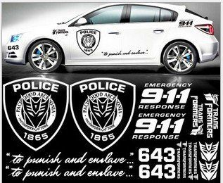 GINOVO Reflective White Color Car Refitting 9 11 POLICE TRANSFORMERS Car Sticker Decal for MG6, K2, K5, FOCUS, CRUZE, Lancer