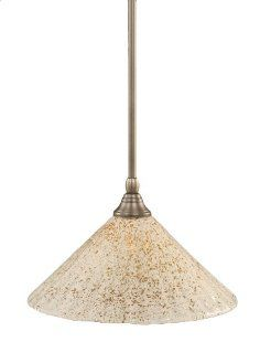 Toltec Lighting 23 BN 702 Stem Mini Pendant Light Brushed Nickel Finish with Gold Ice Glass, 12 Inch   Ceiling Pendant Fixtures