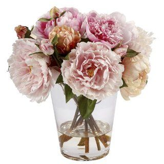 "Peonies in Glass Vase Size 13""   Artificial Mixed Flower Arrangements"