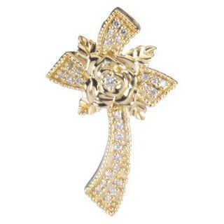 14 Karat Yellow Gold Floral Diamond Cross Pendant Diamond Designs Jewelry