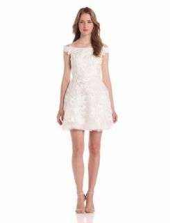Adrianna Papell Women's Embroidered Organza Off Shoulder Dress, Ivory, 16 Women Cocktail Dresses