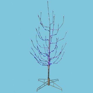 4' LED Pre Lit Brown Artificial Christmas Twig Tree   Purple Lights