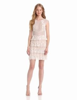 BCBGMAXAZRIA Women's Kayla Lace Blocked Dress, Gardenia, 0 Bcbg Dress