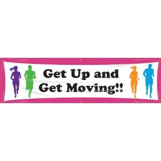 "Accuform Signs MBR722 WorkHealthy Reinforced Vinyl Banner ""Get Up and Get Moving"" with Metal Grommets, 28"" Width x 8' Length Industrial Warning Signs"