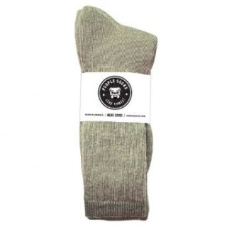 4 Pairs Mens People Socks Green Heather Below Zero Merino Wool Blend Crew Socks (Green Heather) Clothing