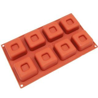 Freshware 8 Cavity Large Silicone Square Savarin Cake Pan & Mold Kitchen & Dining