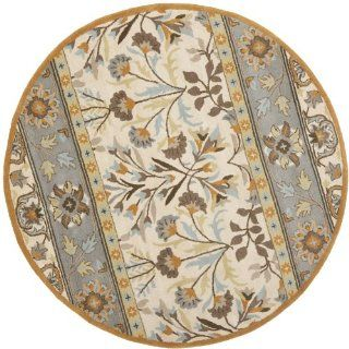 Safavieh Jardin Collection JAR726A Handmade Wool Round Area Rug, 6 Feet in Diameter, Ivory and Blue