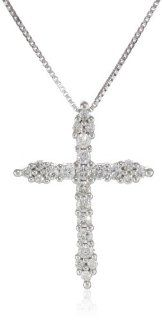 "Women's 10K White Gold Diamond Cross Pendant Necklace (1/4 cttw, I J Color, I2 Clarity) 18"" Jewelry"