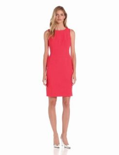 Anne Klein Women's Damier Sheath Dress, Coral, 14