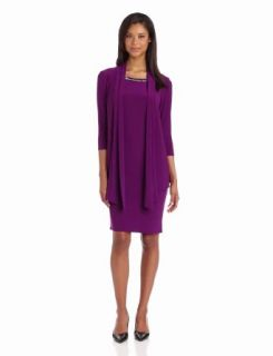 Jones New York Women's Matte Jersey 3/4 Sleeve Jacket Dress