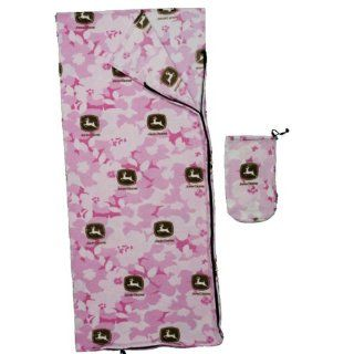 John Deere Pink Camo Fleece Sleeping Bag
