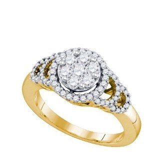 0.71 Carat (ctw) 10K Yellow Gold Round Diamond Ladies Cluster Right Hand Fashion Ring 3/4 CT Jewelry