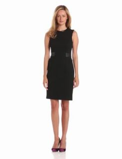 Calvin Klein Women's Sheath Dress With Belt Detail, Black, 2