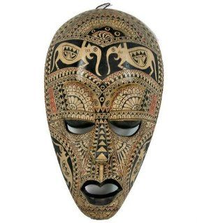 African Mask Carved and Black Painted Elephant and Ornamental Decoration, Vintage