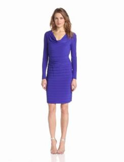 Adrianna Papell Women's Long Sleeve Ruched Blouon Banded Dress, Amethyst, 4