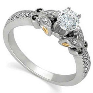 Two Tone Trendy Diamond Engagement Ring (Center stone is not included) Jewelry