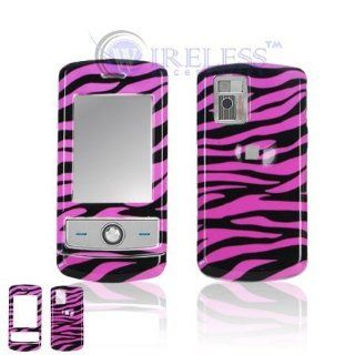 LG CU720 Shine Cell Phone Hot Pink/Black Zebra Design Protective Case Faceplate Cover  Office Supplies