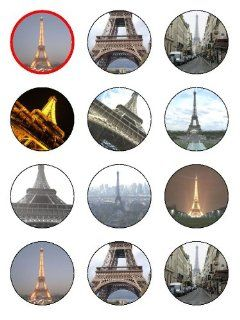 "Twelve 2"" Eiffel Tower Edible Image Cupcake Toppers Decorations on Edible Wafer Rice Paper Grocery & Gourmet Food"