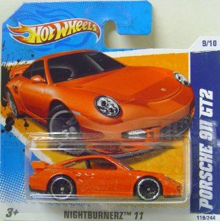 Hot Wheels Porsche 911 GT2 119 RED Nightburnerz 2011 short card Toys & Games