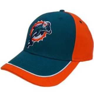 NFL Miami Dolphins Aqua Orange White Hat Cap Constructed Licensed Cotton Velcro  Sports Fan Baseball Caps  Sports & Outdoors