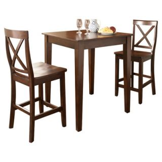 Crosley Three Piece Pub Dining Set with Tapered Leg Table and X Back