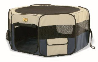 PortaPet Portable Soft Sided Play Pen for Dogs, Medium, Blue/Tan