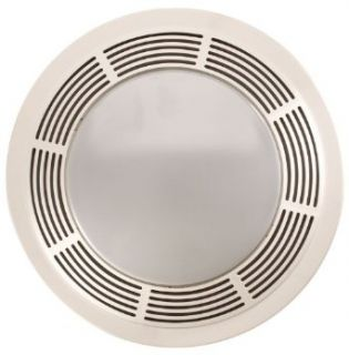 Broan Model 751 Fan/Light, 100 CFM, 3.5 Sones, Round White Grille with Glass Lens   Bathroom Fans