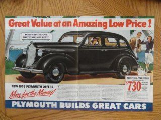 "1938 Plymouth 4 door sedan $730. Vintage 30's full page centerfold 13 1/2""x 20 1/2"" print ad. (painting, woman in black car/man woman walking with dog.) original vintage 1938 Collier's Magazine Print Art."