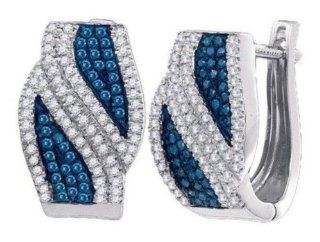 0.5 cttw 10k White Gold Blue Diamond Huggie Hoop Earrings (Real Diamonds 1/2 cttw) Jewelry