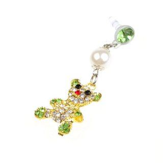 Cute Bear Doll Shape Rhinestone Diamond Pearl Dustproof Plug for Apple Iphone 4s Cell Phones & Accessories
