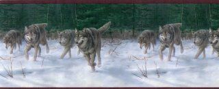 Wolf Pack Wallpaper Border Winter Hunting in Mountain Snow HB732B