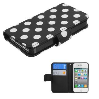 IMAGITOUCH(TM) 4 Item Combo APPLE iPhone 4S 4 White Polka Dots Black Frosted Book Style Wallet Case with Credit Card Slot (with card slot) (755) (Stylus pen, ESD Shield bag, Pry Tool, Phone Cover) Cell Phones & Accessories