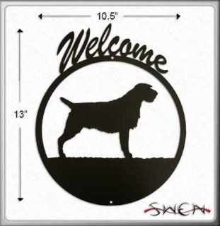 WIREHAIRED POINTING GRIFFON Black Metal Welcome Sign ~NEW~  Yard Signs  Patio, Lawn & Garden