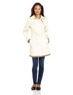 AK Anne Klein Women's Double Breasted Trench Coat, Ivory, Medium
