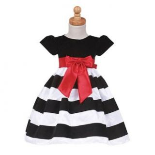 Lito Girls Black Stripe Flocked Christmas Dress Baby Girls 18 24M Clothing