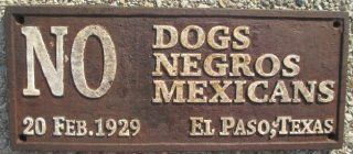No Dogs Negros Mexicans Black Americana Cast Iron Sign  Black Americana Collectibles