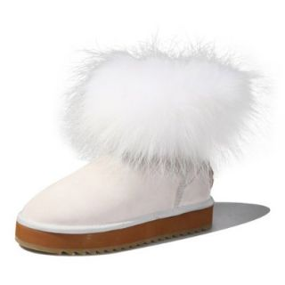 Ausland Women's Casual and Amazing Fox Fur Short Boot Shoes