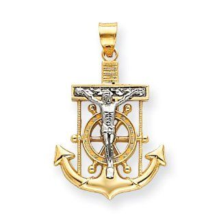 14k Two Tone Diamond Cut Mariner's Cross Pendant Jewelry
