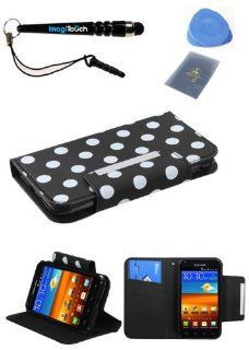 IMAGITOUCH(TM) 4 Item Combo SAMSUNG Galaxy S II 4G White Polka Dots Black Frosted Book Style Wallet Case with Credit Card Slot (with card slot) (755) (with Package) (Stylus pen, ESD Shield bag, Pry Tool, Phone Cover) Cell Phones & Accessories