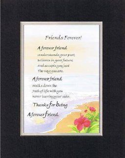 Touching and Heartfelt Poem for Special Friends   Forever Friend Poem on 11 x 14 inches Double Beveled Matting (Black on White)   Greeting Cards